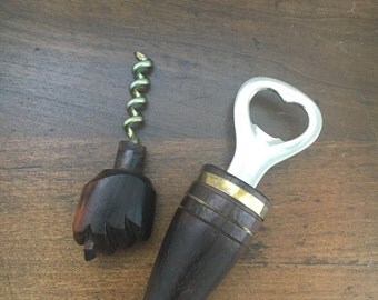 Vintage Rosewood Eberle Wooden Figa Fist Bottle Opener Cork Screw
