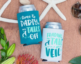 Bachelorette Party Mermaid Beer Can Coolers | Trading my Tail for a Veil and Time to Party our Tails off