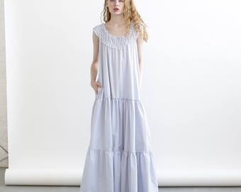Summer Sale Frida Maxi dress, Blue-white strips Maxi dress