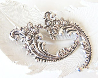 French Hair Clips, Scrolling Flowers, Floral Hair Clips, Silver Filigree, Silver Hair Clips, Silver Flower, Rococo Hair Clips EVERY WISH