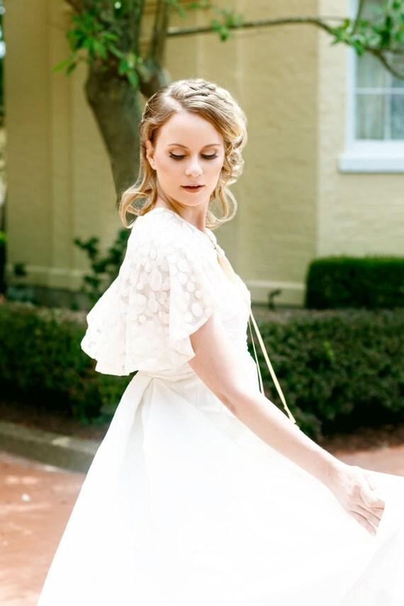 Polka Dot Bridal Capelet, Lace Cloak, Tan Capelet, Jane Austen, Bridal Capelet, Bridal Coverup, Tan Capelet, Polka dot, Lace Cape SWEET JANE