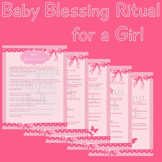 BABY GIRL BLESSING Ritual, Digital Download,  Book of Shadows Page, Grimoire, Scrapbook, Spells, White Magick, Wicca, Witchcraft, Herb Magic