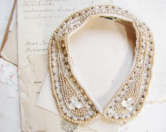 Vintage beaded collar - 1950s faux pearls sequins and mother of pearl - retro rockabilly bride