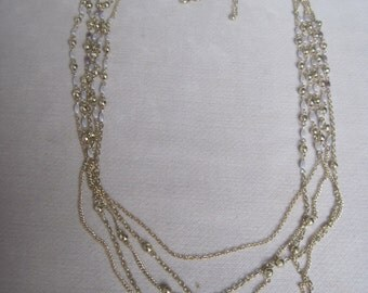 Five Different Lengths n Layered Tiny Pearl n Gold Beaded Chain Drop Necklace