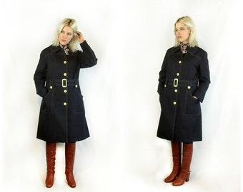 SALE 1960s Navy Mod Trench Coat size Large