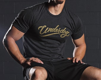 Men's t-shirts - tri-black crew neck short sleeve t-shirt for men - underdog t-shirt - mens graphic tee - Gift for men - gym t-shirt for men