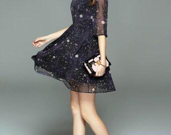 Vintage handmade Summer Dress, Moon Dress, Summer dress, star dress, half sleeve dress, dark blue dress, 50s dress,