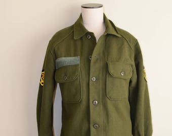 Vintage Wool Olive Green Army Shirt - Men's Small - Uni-Sex / Great Outdooors / Pacific NW / Urban