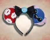 Hawaiian Alien Mouse Ear Headband w/ Bow