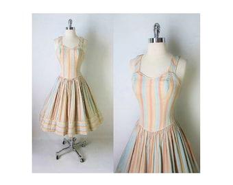 Vintage 50's Pastel Circus Candy Striped Sweetheart Full Skirt Swing Sundress Dress S