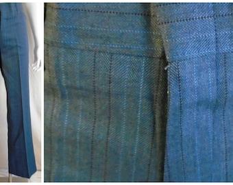 Vintage 1960's Man's Pants Mod Blue Black Flare Leg Deadstock NWT NOS Suedehead Rocker 34 Waist
