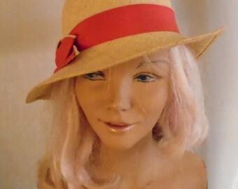 Vintage 1980's Straw Hat Has 1930's Look Saks Fifth Avenue Label
