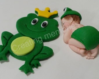 Fondant  BABY With King FROG Cake Topper - Baby. shower/Birthday Party/Cake Supplies/Cupcakes/Baby Boy Topper/Fondant