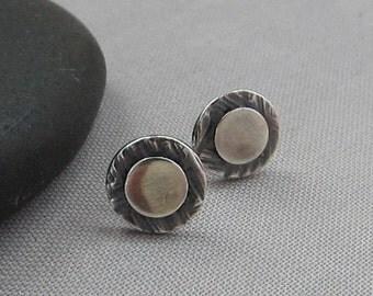 Silver Stud Earrings/ Fine Silver PMC earrings/ Stud Earrings/ Texturized Stud Earrings/