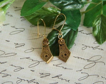 Brass Watch Part earrings Steampunk drop dangles - Made with vintage watch parts