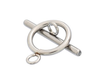 10 Sets Stainless Steel Silver Metal Circle Toggle Clasps, non-tarnish clasp, Plain Simple Design, (20pcs) fcl0225