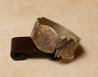 Vintage Small Brass Metal Tribal Boho Kuchi Cuff Bracelet