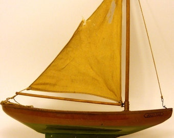 """Vintage WATERWISE YACHTS """"Jolly Tar"""" Tin Toy Sail Boat Antique Nautical Ship Home Decor"""