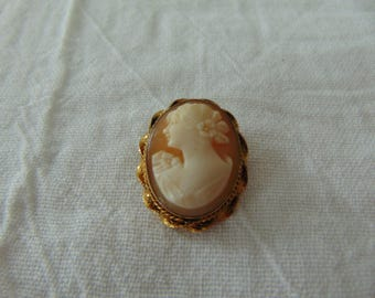vtg gold filled cameo brooch signed pr.st.co.