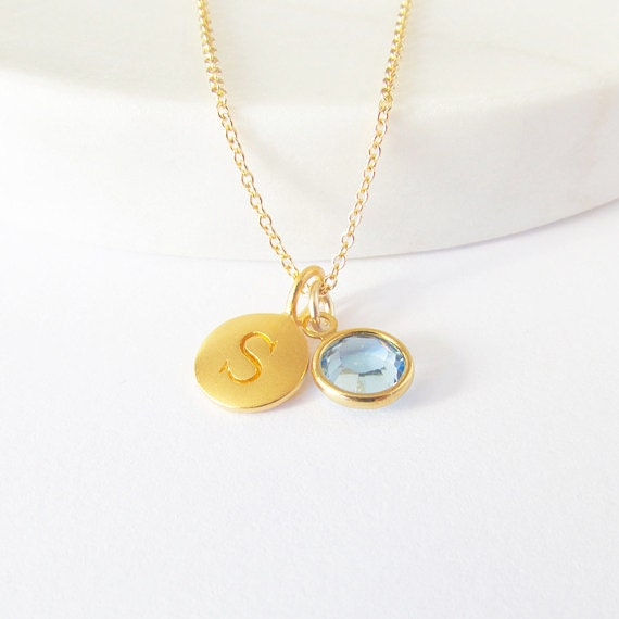 Gold initial birthstone charm necklace initial necklace description our initial charm necklace aloadofball Image collections