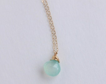 Aqua Blue Chalcedony Necklace, 14k gold filled jewelry,  Wire Wrapped Briolette, gift for her