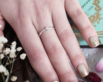 Silver Solitaire Ring, White Ring, Boho Stacking Ring, Inexpensive Ring, Non Diamond, Stackable Ring, Dainty Thin Ring, Zirconium, Gemstone