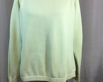 Light Green Sweater by L.L.Bean, Cotton Long Sleeve Sweater, Pale Green, Adult Large to Extra Large Previously 25 Dollars ON SALE