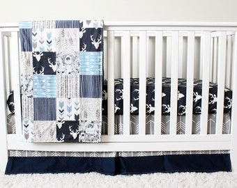 Woodlands Nursery Bedding, Gray, Navy Blue, Deer, Arrow, Animal Crib Bedding, Baby Boy Set
