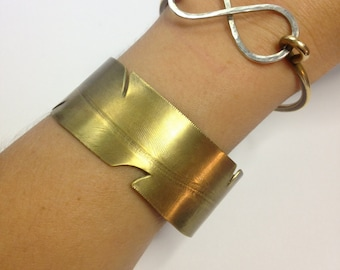 Brass Pressed Feather Cuff Bracelet