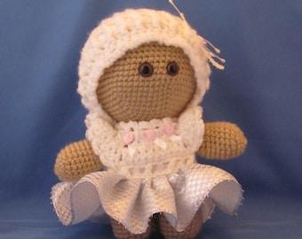 Crochet Amigurumi Baby Doll with White Dress, Super cute, Cuddly Baby Doll, Soft Toy, Waldorf Doll, Stuffed Doll, Rag Doll