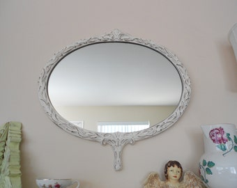 Ornate Shabby Chic - Hollywood Regency - Vintage Princess Oval Mirror Distressed Antique White