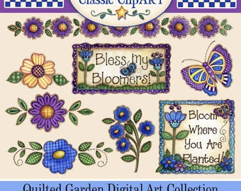 Flower Clip Art, Quilted Flower Clip Art, Laurie Furnell, Papercrafts,Scrapbooking,Purple and Blue Flowers,Watercolor clip art, Spring Art,