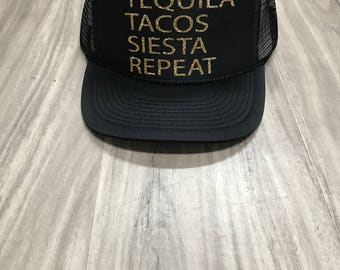 Tequila Tacos Siesta Repeat Trucker Hat Champagne Trucker Hat Women's Trucker Hat Glitter Mexican Cruise Mexican Vacation Cabo Hats Cabo