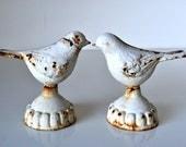 Pair Chippy Cast Iron Lovebirds
