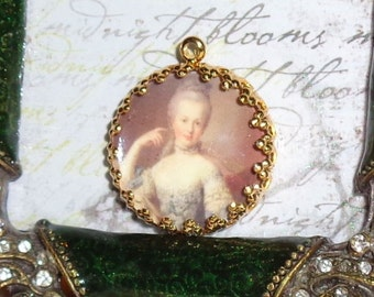 Marie Antoinette vintage art print image charm cabochon diy jewelry making
