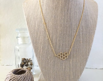 Gold Honeycomb Necklace, Delicate Cable Chain, Geometric Necklace, Simple Jewelry, Minimalist