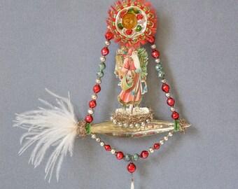 victorian style santa ornament, victorian christmas ornament, santa claus ornament, victorian santa, victorian ornament - HOLLY JOLLY SANTA