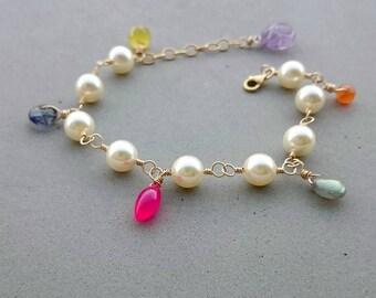 Swarovski Pearl Bracelet - Mixed Gemstone Bracelet with Purple Amethyst and Gold Fill