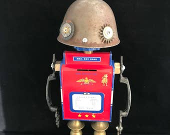 Collection Man Bot - found object robot sculpture assemblage by Cheri Kudja with Bitti Bots