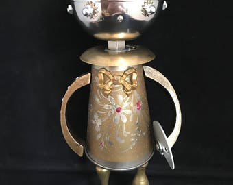 Maddie Brass Bot - found object robot sculpture assemblage by Cheri Kudja with Bitti Bots