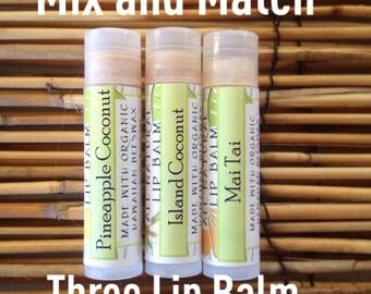 Mix & Match Three Lip Balm-Organic Ingredients-MADE IN HAWAII