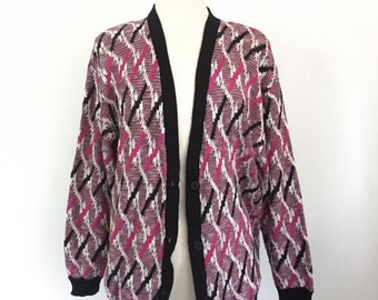 """Vintage 1980s 1990s """"LeFolio"""" Pink, Black and White Knit Cosby Cardigan Sweater"""