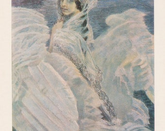"M. Vrubel ""The Swan Princess"" Print, Postcard -- 1979"