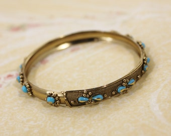 Gold Tone Fashion Bangle Bracelet with Blue Beads