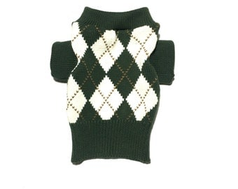 X Small Green and Brown Argyle Designer Dog Sweater, Pet Puppy Apparel, Girl and Boy Dog Clothes 0354