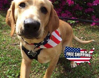Small American Flag Slip On Dog Bandana Over the Collar, Labor Day, July 4th, Memorial Day, Veterans Day, dog bandana collar