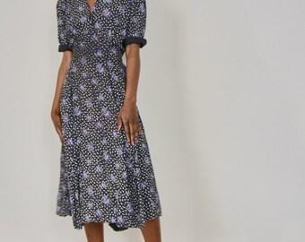 Vintage 40s Style Ditsy Printed Tea Dress