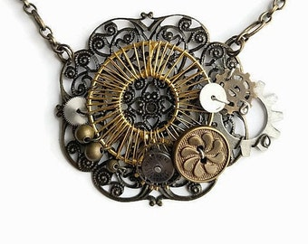 Steampunk Industrial Neo-Victorian Repurposed Handmade Ooak Machinery Filigree Lace Golden Coil Collage