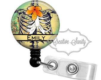 Retractable Badge Holder, Personalized Anatomical Ribs, Radiology, Choice of Badge Reel, Carabiner, Lanyard, or Stethoscope ID Tag