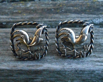 Vintage Rooster Compass Cufflinks. Unique, Wedding, Men's, Father's Day, Christmas Gift, Valentine, Anniversary Gift, Dad.